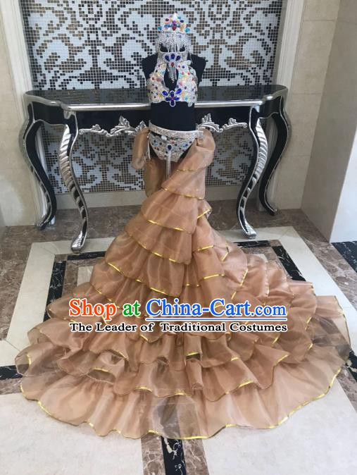 Top Grade Children Stage Performance Costume Catwalks Modern Dance Bikini Dress and Headwear for Kids