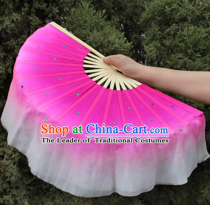 Top Grade Chinese Folk Dance Folding Fans Dance Fans Yangko Pink Silk Fans for Women