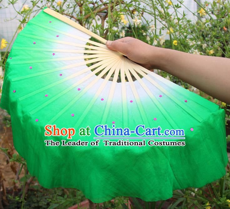 Top Grade Chinese Folk Dance Folding Fans Dance Fans Yangko Green Silk Fans for Women