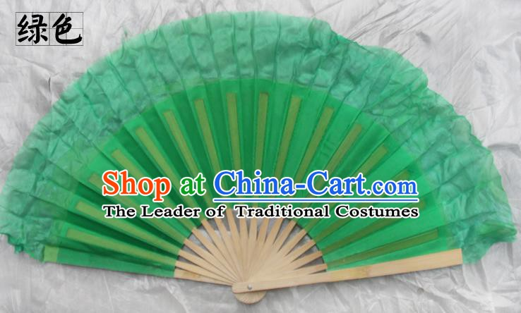 Top Grade Chinese Folk Dance Folding Fans Yangko Dance Green Silk Fan for Women