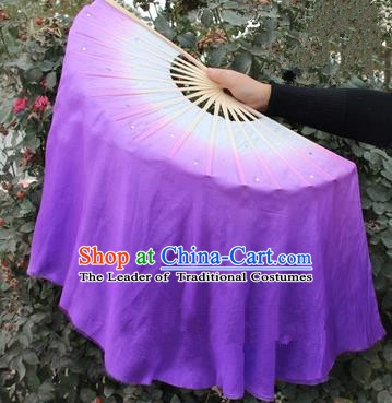 Top Grade Chinese Folk Dance Purple Folding Fans Yangko Dance Silk Ribbon Fan for Women