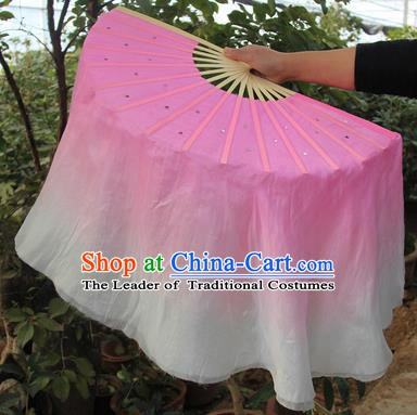 Top Grade Chinese Folk Dance Pink Folding Fans Yangko Dance Silk Ribbon Fan for Women