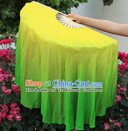 Top Grade Chinese Folk Dance Yellow Folding Fans Yangko Dance Silk Ribbon Fan for Women