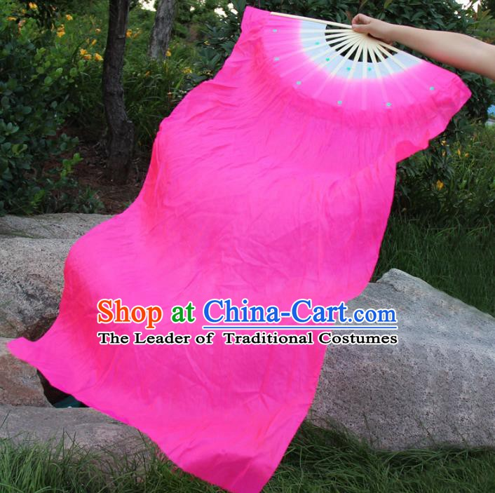 Top Grade Chinese Folk Dance Rosy Folding Fans Yangko Dance Silk Long Ribbon Fan for Women