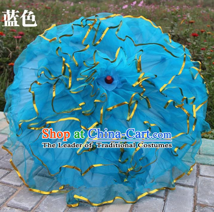 Top Grade Chinese Folk Dance Umbrella Yangko Dance Classical Dance Blue Silk Umbrella for Women