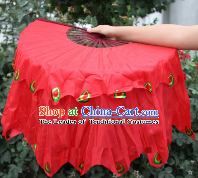 Chinese Handmade Folk Dance Peacock Folding Fans Yangko Dance Red Silk Ribbon Fan for Women