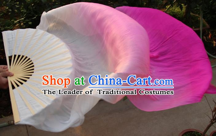Chinese Handmade Folk Dance Folding Fans Yangko Dance Gradient Pink Silk Ribbon Fan for Women