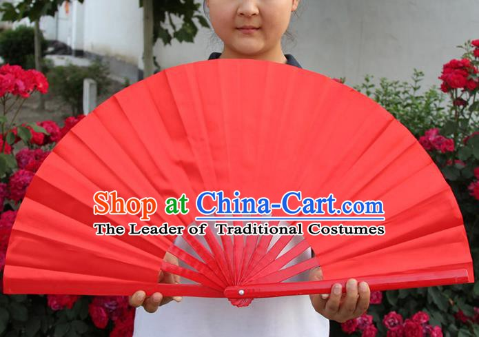 Chinese Handmade Folk Dance Folding Fans Yangko Dance Red Fan for Women