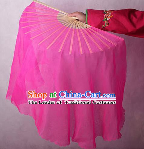 Chinese Handmade Folk Dance Rosy Ribbon Folding Fans Yangko Dance Classical Fans for Women
