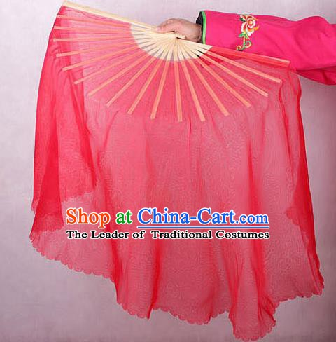 Chinese Handmade Folk Dance Red Ribbon Folding Fans Yangko Dance Classical Fans for Women