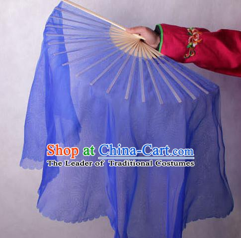 Chinese Handmade Folk Dance Deep Blue Ribbon Folding Fans Yangko Dance Classical Fans for Women