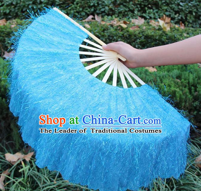 Chinese Handmade Folk Dance Blue Folding Fans Yangko Dance Classical Dance Fans for Women