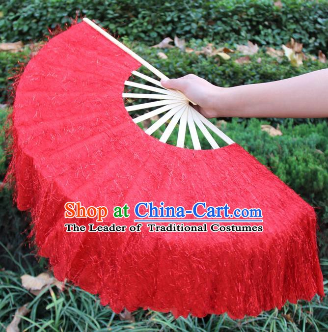 Chinese Handmade Folk Dance Red Folding Fans Yangko Dance Classical Dance Fans for Women