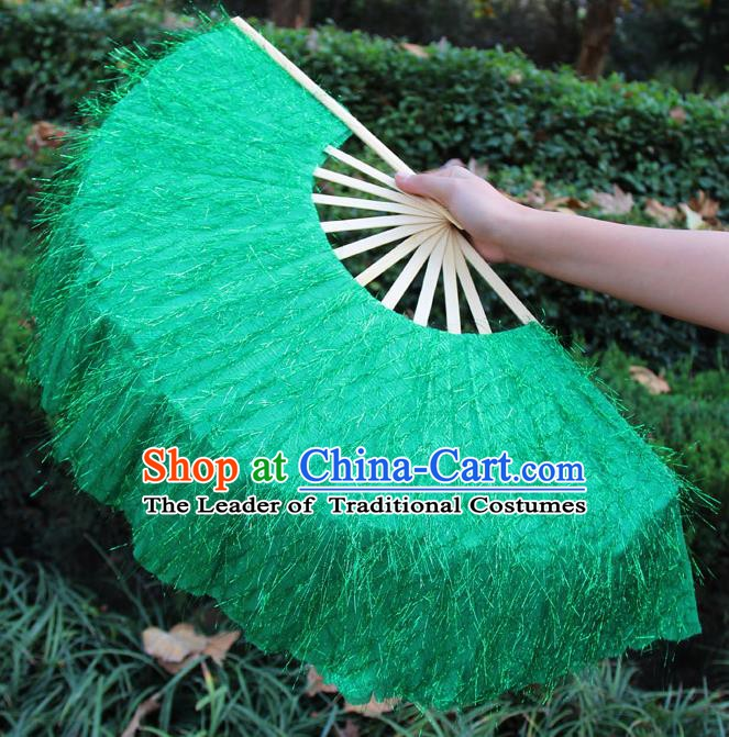 Chinese Handmade Folk Dance Green Folding Fans Yangko Dance Classical Dance Fans for Women