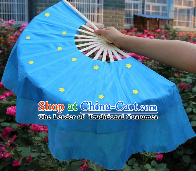 Chinese Handmade Folk Dance Blue Silk Folding Fans Yangko Dance Classical Dance Fans for Women