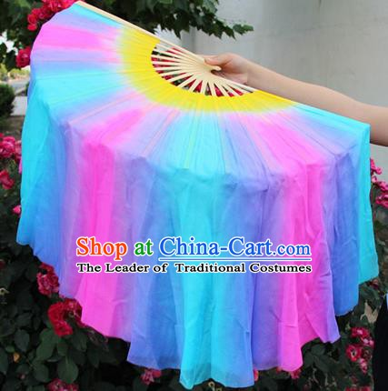 Chinese Handmade Folk Dance Colorful Silk Folding Fans Yangko Dance Classical Dance Fans for Women