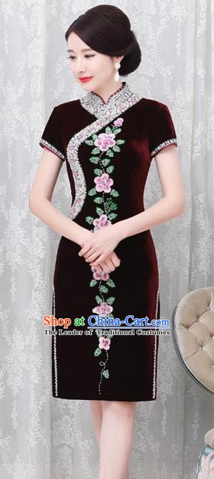 Chinese Traditional Elegant Cheongsam Embroidery Purplish Red Velvet Qipao Dress National Costume for Women