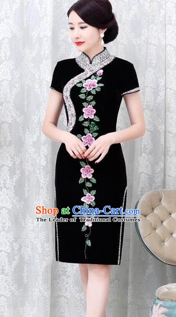 Chinese Traditional Elegant Cheongsam Embroidery Black Velvet Qipao Dress National Costume for Women