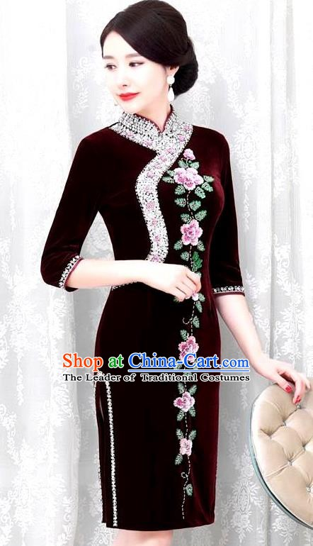 Chinese Traditional Elegant Seven Sleeves Cheongsam Embroidery Purplish Red Velvet Qipao Dress National Costume for Women