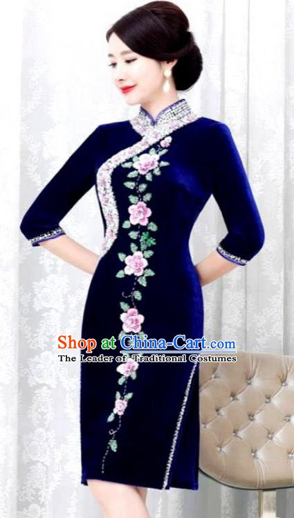 Chinese Traditional Elegant Seven Sleeves Cheongsam Embroidery Royalblue Velvet Qipao Dress National Costume for Women