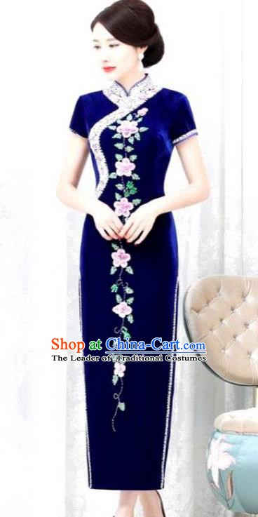 Chinese Traditional Elegant Royalblue Velvet Cheongsam Embroidery Qipao Dress National Costume for Women