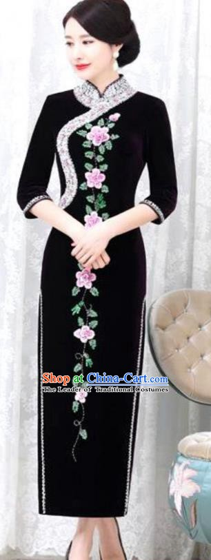 Chinese Traditional Elegant Black Velvet Cheongsam Embroidery Qipao Dress National Costume for Women