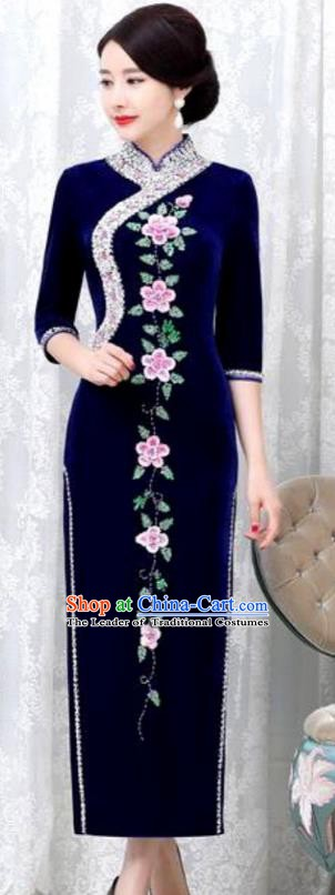 Chinese Traditional Elegant Blue Velvet Cheongsam Embroidery Qipao Dress National Costume for Women
