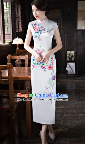 Chinese Traditional Elegant Printing Silk White Cheongsam National Costume Qipao Dress for Women