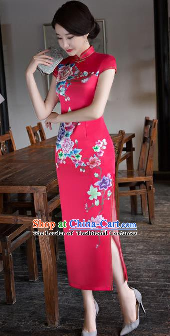 Chinese Traditional Elegant Printing Silk Red Cheongsam National Costume Qipao Dress for Women