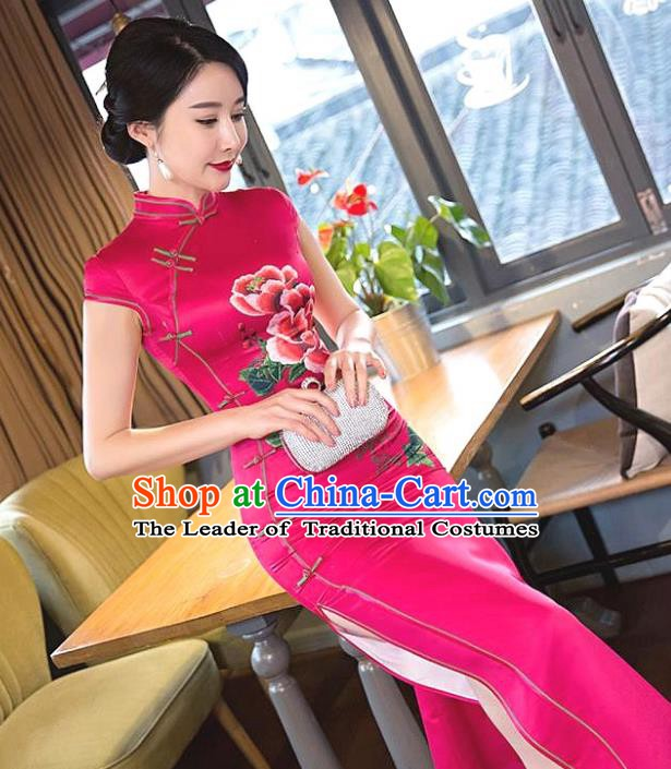 Chinese Traditional Elegant Printing Peony Rosy Silk Cheongsam National Costume Qipao Dress for Women