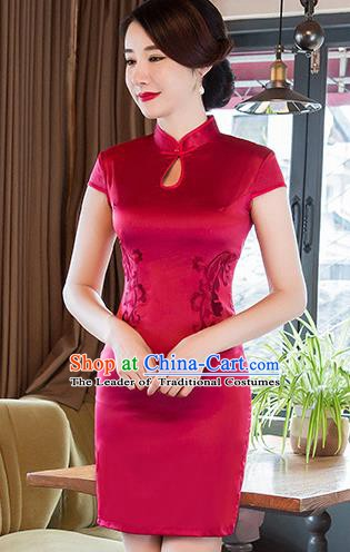 Chinese Traditional Elegant Red Silk Cheongsam National Costume Short Qipao Dress for Women