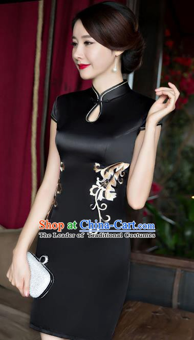 Chinese Traditional Elegant Black Silk Cheongsam National Costume Short Qipao Dress for Women