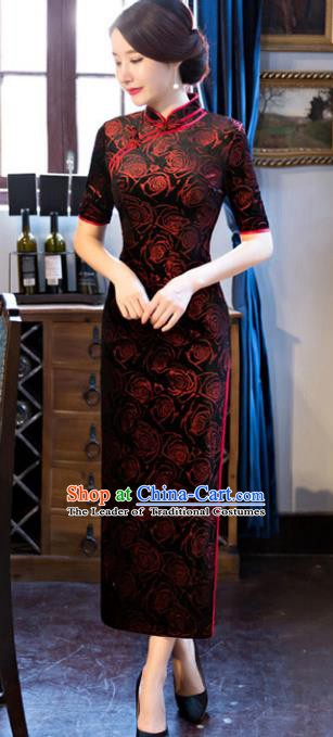 Chinese Traditional Elegant Pattern Rose Dark Red Cheongsam National Costume Silk Qipao Dress for Women