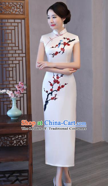 Chinese Traditional Printing Plum Blossom Elegant White Cheongsam National Costume Silk Qipao Dress for Women