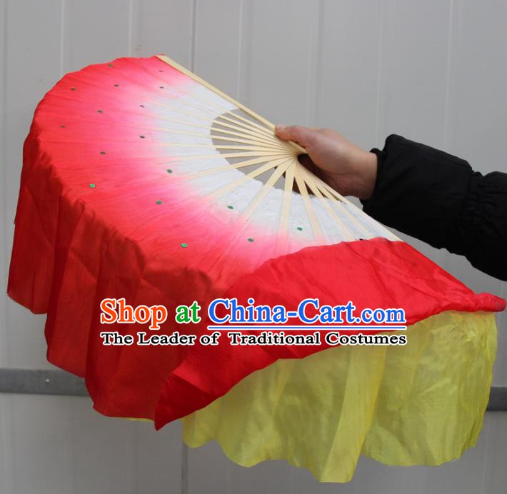 Chinese Handmade Folk Dance Yellow and Red Ribbons Folding Fans Yangko Dance Classical Dance Fans for Women