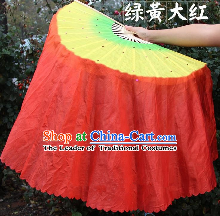Chinese Handmade Folk Dance Red Ribbon Folding Fans Yangko Dance Classical Dance Fans for Women