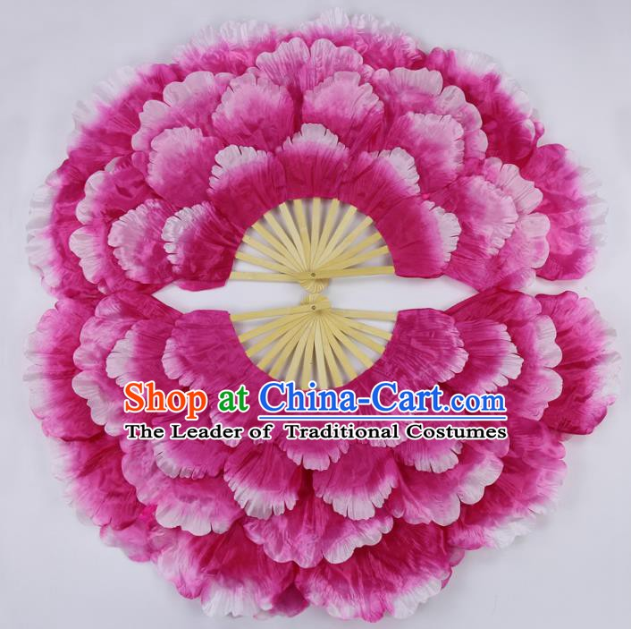 Chinese Handmade Folk Dance Folding Fans Yangko Dance Classical Dance Peony Fans for Women