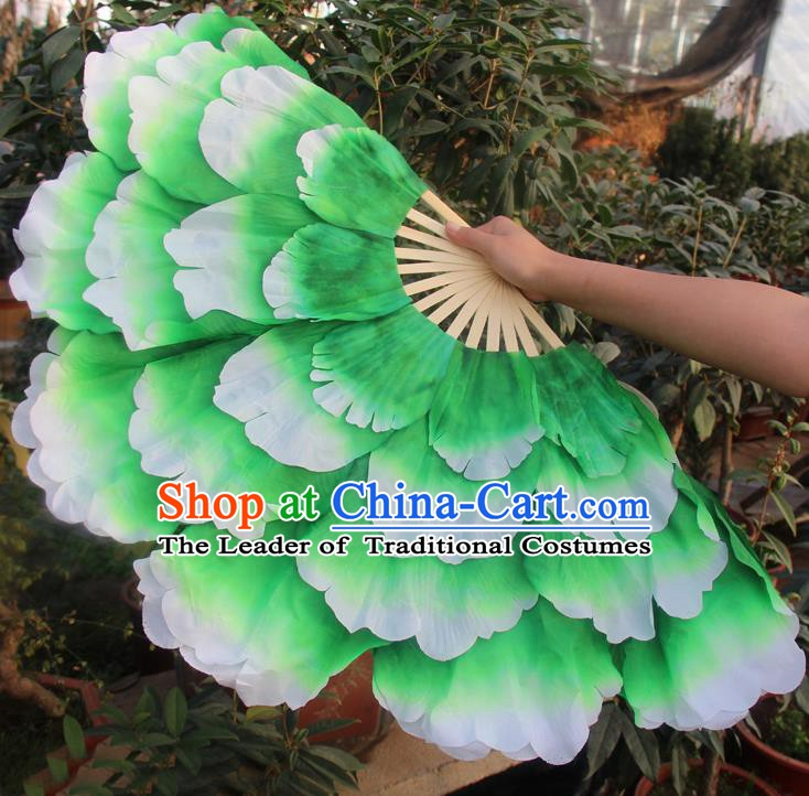 Chinese Handmade Folk Dance Folding Fans Yangko Dance Classical Dance Green Peony Fans for Women