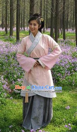 Chinese Ancient Han Dynasty Beauty Qin Luofu Hanfu Dress Replica Costume for Women