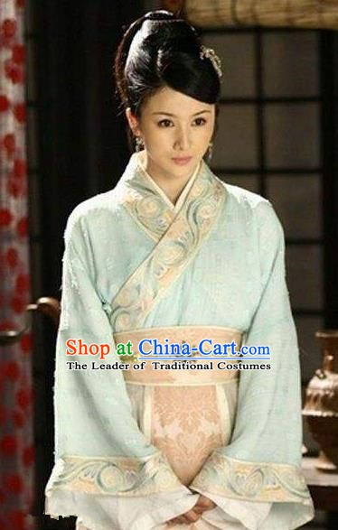 Chinese Ancient Han Dynasty Young Mistress Liu Lanzhi Hanfu Dress Replica Costume for Women