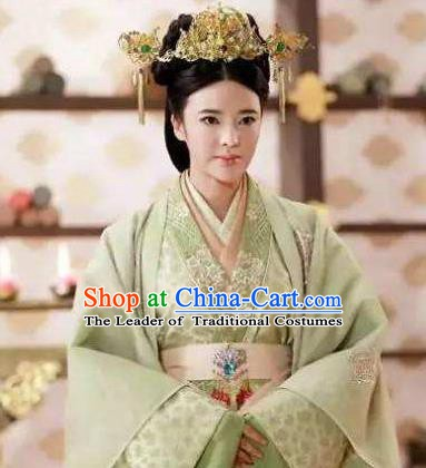 Chinese Ancient Han Dynasty Queen Wang Zhengjun Hanfu Dress Replica Costume for Women