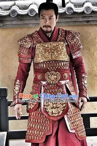 Ancient Chinese Han Dynasty General Hunye King Replica Costume Helmet and Armour for Men