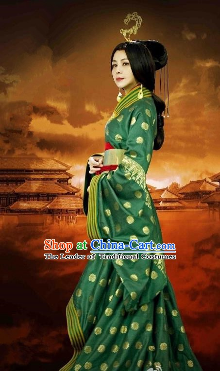 Chinese Ancient Western Han Dynasty Dowager Countess Guo Zhu Hanfu Dress Replica Costume for Women
