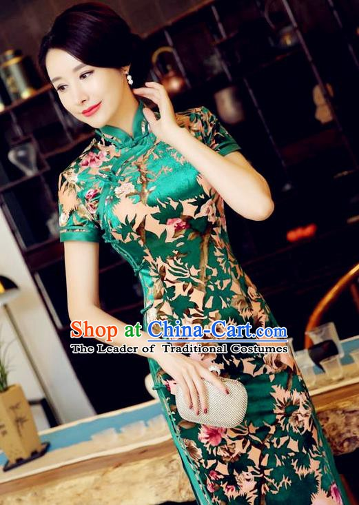 Chinese Traditional Elegant Green Pleuche Cheongsam National Costume Qipao Dress for Women