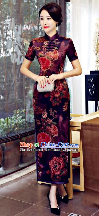 Chinese Traditional Elegant Dark Red Cheongsam National Costume Watered Gauze Qipao Dress for Women