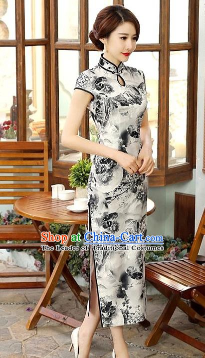 Chinese Traditional Elegant Ink Painting Cheongsam National Costume Silk Qipao Dress for Women