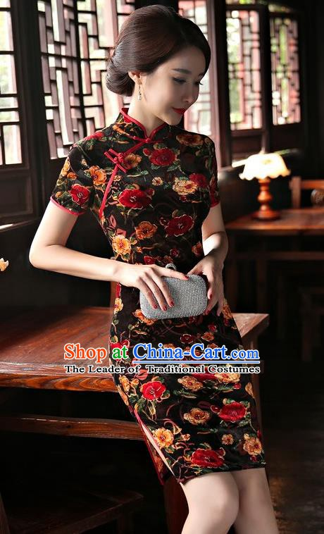 Chinese Traditional Elegant Black Velvet Cheongsam National Costume Short Qipao Dress for Women