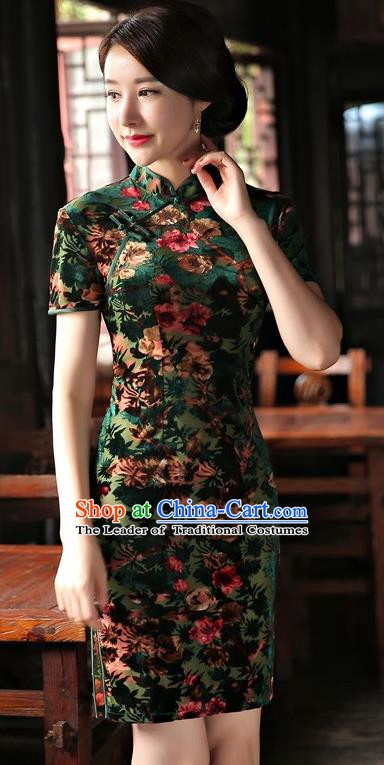 Chinese Traditional Elegant Green Velvet Cheongsam National Costume Short Qipao Dress for Women