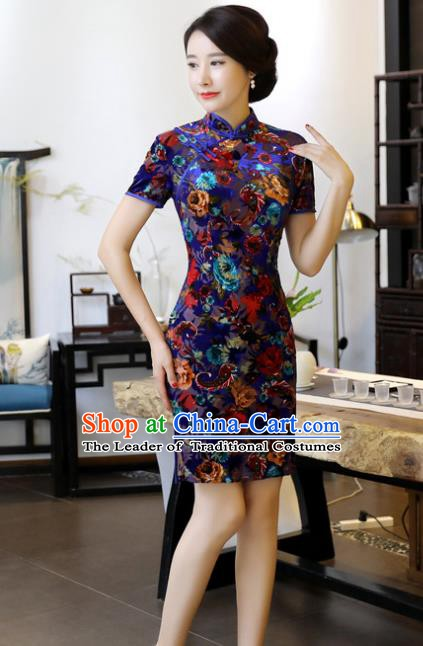 Chinese Traditional Elegant Royalblue Velvet Cheongsam National Costume Short Qipao Dress for Women