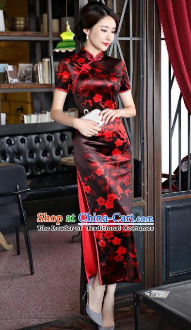 Chinese Traditional Elegant Black Cheongsam National Costume Plum Blossom Qipao Dress for Women